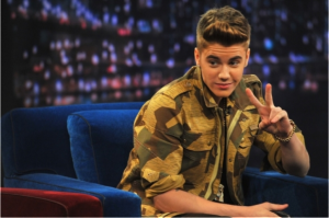 The Biebster wearing camo